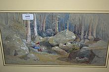 19th Century watercolour, figure and goat in a woodland clearing, 8.5ins x 15.5ins, gilt framed