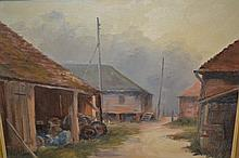 G. Sinden, oil on board, study of farm buildings together with a watercolour of a moored fishing boat, indistinctly signed