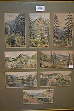 Group of eight continental watercolour landscapes, mountain scenes, housed in a single frame