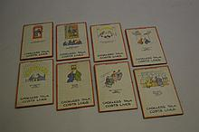 Fougasse, group of eight small posters printed in colours (lithograph), circa mid 1940's, entitled ' Careless Talk Costs Lives ', each 12.5ins x 8ins with red borders, mounted in clip frames