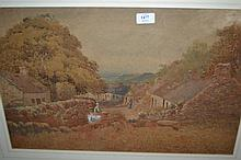 19th Century watercolour, a rural village scene with donkey cart, figures and cottages, signed and dated 1888, 14.5ins x 23ins, gilt framed