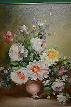 Rana Riedle, 20th Century oil on canvas, still life vase of flowers, signed, 24ins x 20ins, gilt framed