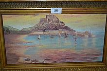 E.F. Bowen, two framed oils, view of St. Michael's Mount and boatmen at sunset, one signed