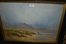 Henry Hadfield Cubley, oil on board, misty coastal scene with figures on a beach and distant buildings, signed, 15.5ins x 21.5ins, framed