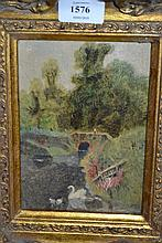 Late 19th Century oil on millboard, river landscape with figure on a stone bridge, heavy gilt frame, 7ins x 5ins