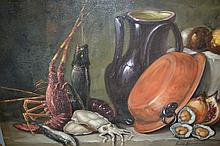 Venan Zoni, 20th Century, oil on canvas, still life, fish etc on a table, signed, 19.5ins x 27.5ins, unframed