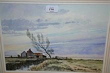 Adrian Taunton, watercolour, entitled ' Marsh Farms ', building in a Norfolk landscape, 12ins x 16ins, framed, gallery labels verso