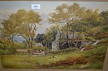 Fred Dixey, watercolour, view of a water mill on a coastal hillside with chickens and a figure to the foreground, 15ins x 22ins, gilt framed