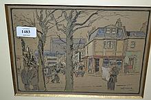 David Thomas Rose, watercolour, Oxford Street, Brighton, signed, 7.5ins x 10ins, gilt framed