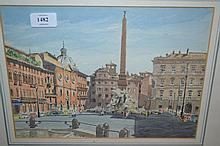 Michael J. Gould, watercolour, ' The Piazza Navona, Rome ', signed and dated '68, 9ins x 12ins, gilt framed
