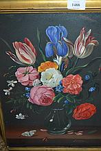 Oil on board, still life, vase of flowers and insects on a stone ledge, signed Lutchens, 15.5ins x 11ins, gilt framed