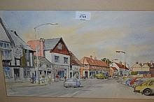 R. Allison, pen and watercolour of old Woking High Street in the late 1960's / early '70's, signed