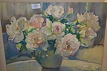 Marcella Smith, watercolour, still life study, vase of roses, signed, 14.5ins x 18.5ins, framed