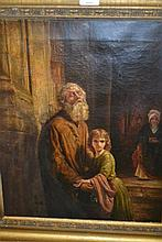 19th Century oil on canvas, study of a bearded gentleman with a child and another figure by a doorway
