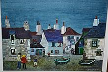 Brenda King, oil on board, ' The Yellow Hat at Mousehole ', signed, 5.25ins x 7.25ins, gilt framed