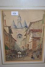 Watercolour, continental town scene with figures and another, native figures drawing water from a well, signed Myit
