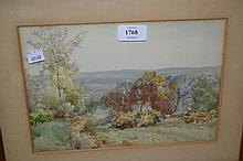 Henry Charles Jarvis, pair of watercolours, garden scene with dovecott and wooded landscape, signed, 7ins x 11ins each