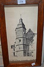 Early 20th Century ink drawing, view of a chateau tower, signed with initials W.B.S. and dated 1919