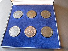 Cased collection of six various cartwheel pennies