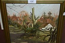 A. Easton, oil on board, study of cottages