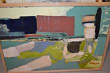 A. Oscar, 20th Century oil abstract composition, signed, 15ins x 21ins, framed