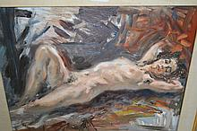 Modern British school, oil on board of a reclining female nude together with a watercolour, female nude, signed Bays