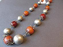 Continental white metal and amber coloured bead necklace
