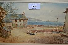 Frederick Parr, watercolour, West Country coastal scene, signed, 6.5ins x 10ins, gilt framed