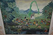 20th Century Balinese school, oil on canvas, a plantation with figures, cattle etc, signed, 12.5ins x 14ins, framed