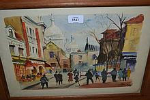 Fernand Guignier, watercolour, Montmartre, signed and dated 1961, 9ins x 13.5ins, framed