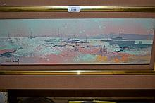J.T. Jacus, oil on canvas, boats in an estuary at sunset, 6ins x 18ins with original mount