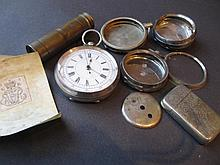 Silver cased open face pocket watch (a/f), three watch cases, vesta case, pocket telescope and sundries