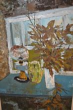 Gwilym Pritchard, oil on canvas, still life of an oil lamp, kettle and vase of flowers on a table, signed, 29ins x 19ins