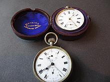 Silver cased open face pocket watch and a similar plated pocket watch