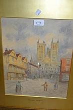 Oil on board, Highland cattle in a moorland landscape, gilt framed, unsigned, 5ins x 18ins, watercolour of Lincoln Cathedral by Ernest Vicars, signed, 18ins x 12ins and a Limited Edition print of the U.S.S. Constitution