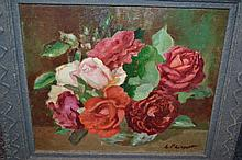 Oil on board, still life of roses in a vase, together with a quantity of various other oil paintings