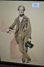 19th Century English school watercolour, portrait of a gentleman holding a top hat, 16ins x 12ins