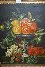 20th Century oil on canvas, still life, comport of fruit, signed Schouten, 23.5ins x 19.5ins, gilt framed
