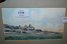 Small framed watercolour, view in Malta, signed A.M. Galea, 4ins x 7ins