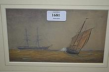 Three framed 19th Century watercolours, maritime scenes with various shipping