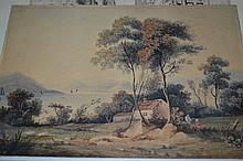 19th Century English school, small unframed watercolour, figures in a lakeland landscape together with a signed etching, figure seated on a bench before grand buildings, unframed