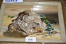 R. Dumont-Smith, signed oil, still life with rock crystal, 7ins x 9ins