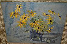 James Popham, signed modern British school oil on canvas, yellow daisies in a jug, 15ins x 19ins