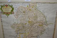 Robert Morden antique hand coloured map of Warwickshire