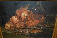 C. Hirn, 20th Century oil on canvas, still life, fish, vegetables etc on a table, signed, 16ins x 20.5ins, gilt framed