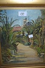 L.C. Oliver, 20th Century oil on panel, Las Palmas Garden, signed and dated 1935, 11.5ins x 9ins, gilt framed
