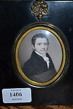 Early 19th Century English school, watercolour portrait miniature on ivory of a gentleman half length wearing a black coat and lace stock together with another watercolour miniature portrait of a Naval officer and a watercolour miniature portrait of