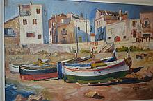 Oil on panel, study of beached Mediterranean fishing boats, signed Rene, 40ins x 18ins in a painted frame together with a signed Limited Edition coloured etching, cats on a window sill and another engraving