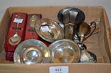 Three small silver dishes, five boxed silver teaspoons, small silver trophy cup and a specimen vase (a/f)
