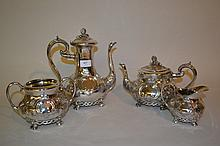 19th Century silver plated four piece tea service with floral embossed decoration
